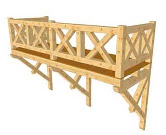 3D-Darstellung eines Balkons