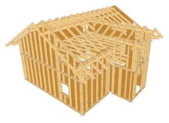3D-Darstellung eines Einfamilienhauses in Holzrahmenbauweise