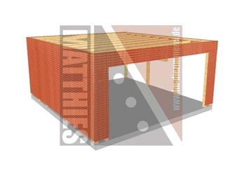 Doppelcarportkonstruktion mit Flachdach