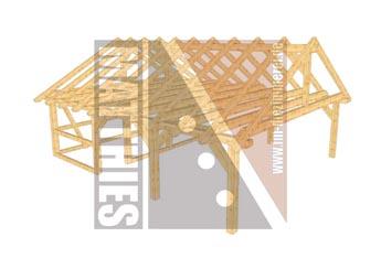 Doppelcarportkonstruktion mit Satteldach und Gerätehaus