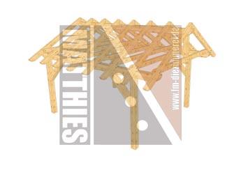 Einzelcarportkonstruktion mit Satteldach